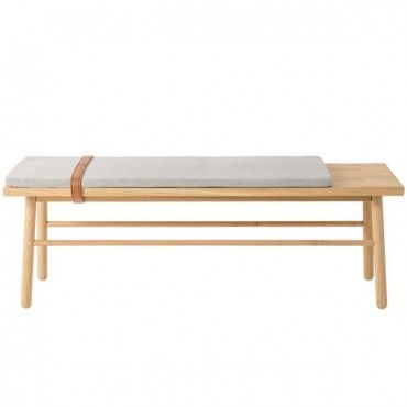 Bloomingville Straight Bench With Cushion And Leather Strap