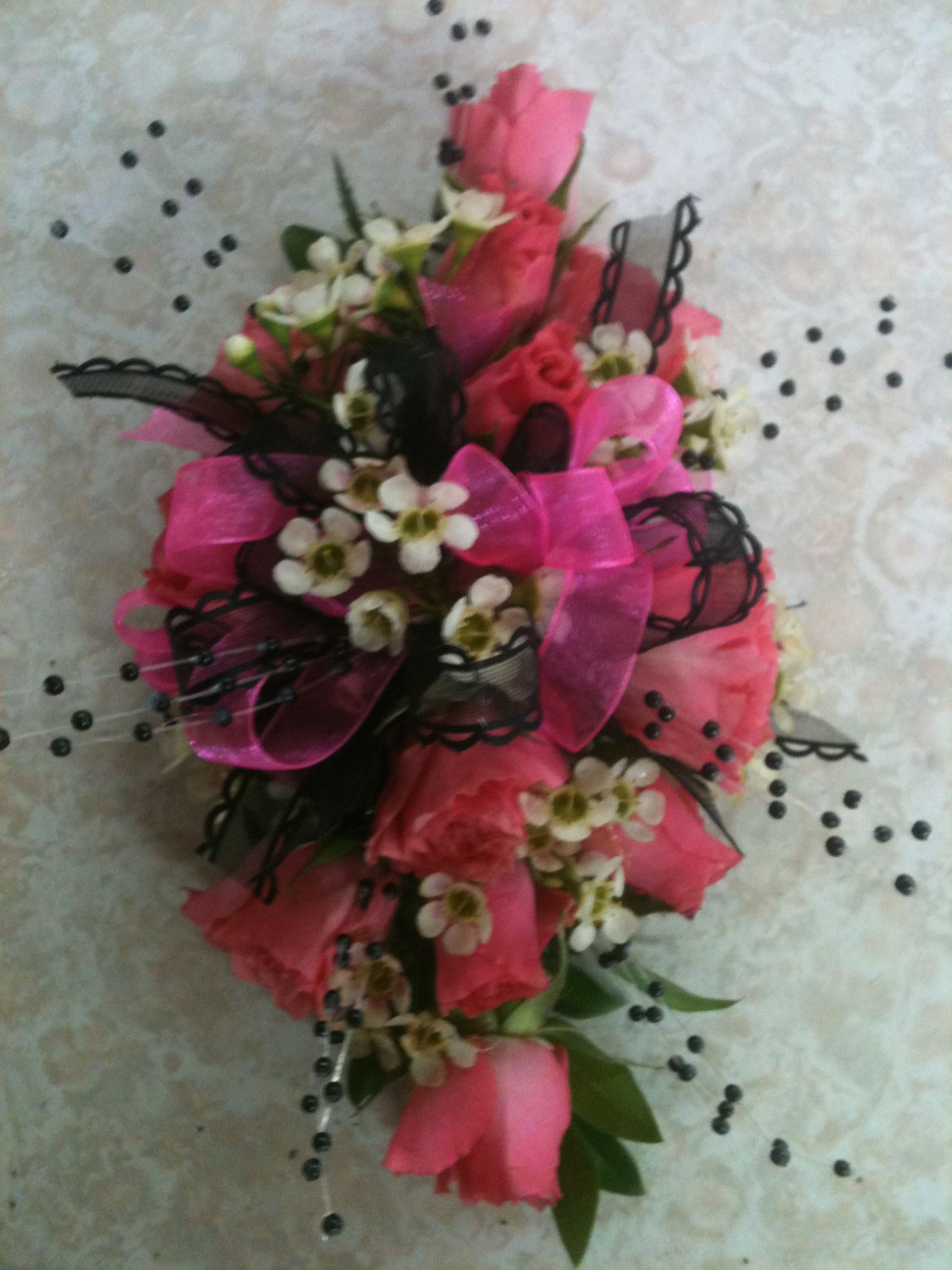 Hot Pink And Black Wrist Corsage Flowers For You Pinterest