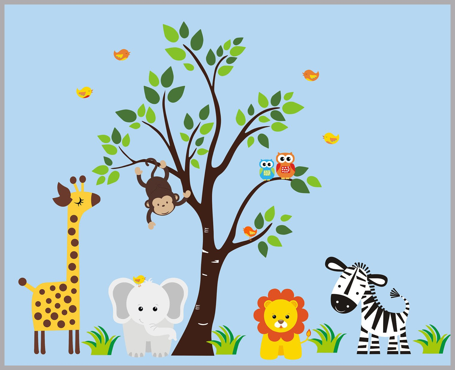 Zoo Animal Wall Decals Jungle Wall Decals Safari Wall Decals Elephant Lion Zebra Tree Stickers Nursery Baby Room Decor 83 X 97 Animal Wall Decals Jungle Wall Stickers Nursery Wall Decals
