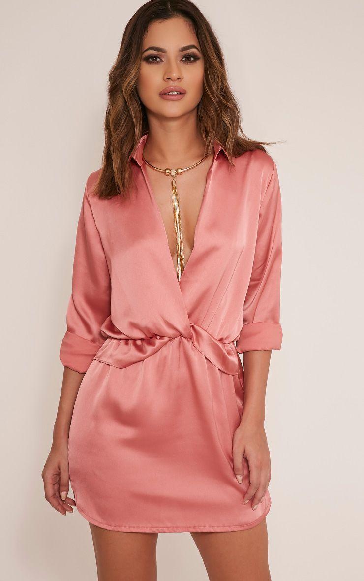Amanda Mink Tie Waist Satin Shirt Dress - Dresses ...