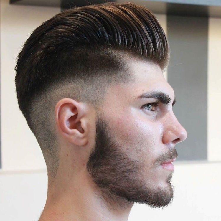 Pompadour Frisur Männer Fade Undercut Bart Herrenfrisuren