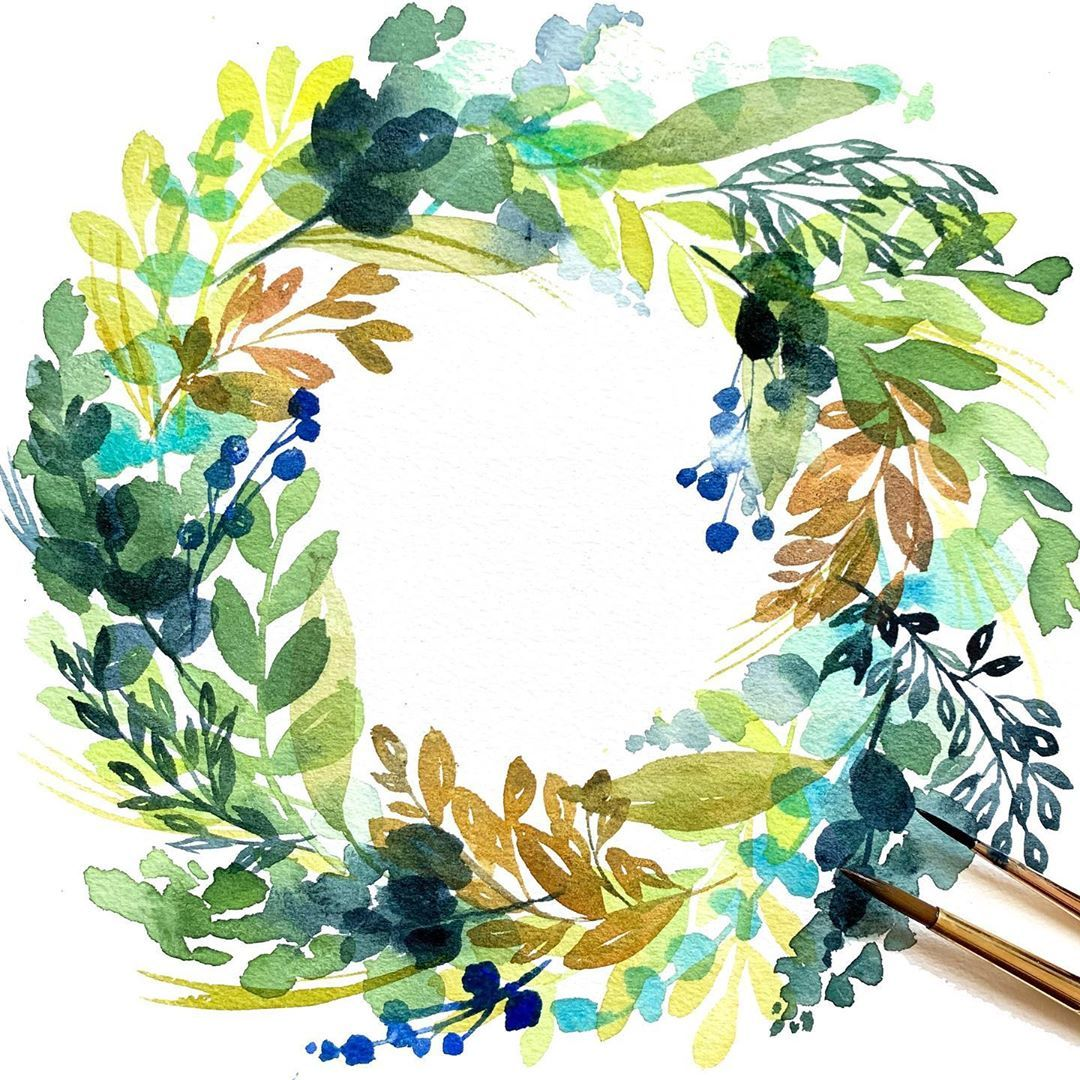 Watercolor Floral Wreath Tutorial Watercolors Aquarell