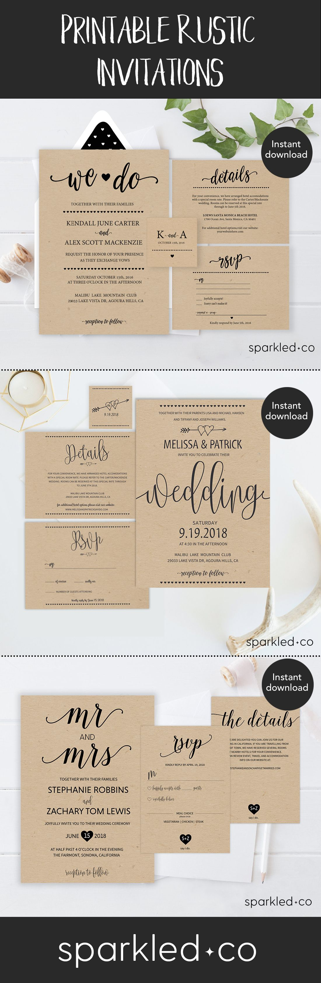 free online printable wedding thank you cards%0A Free Invitation Templates that can be customized and printed to create DIY  rustic wedding invitations   http   www cardsandpockets com freeweddingi u