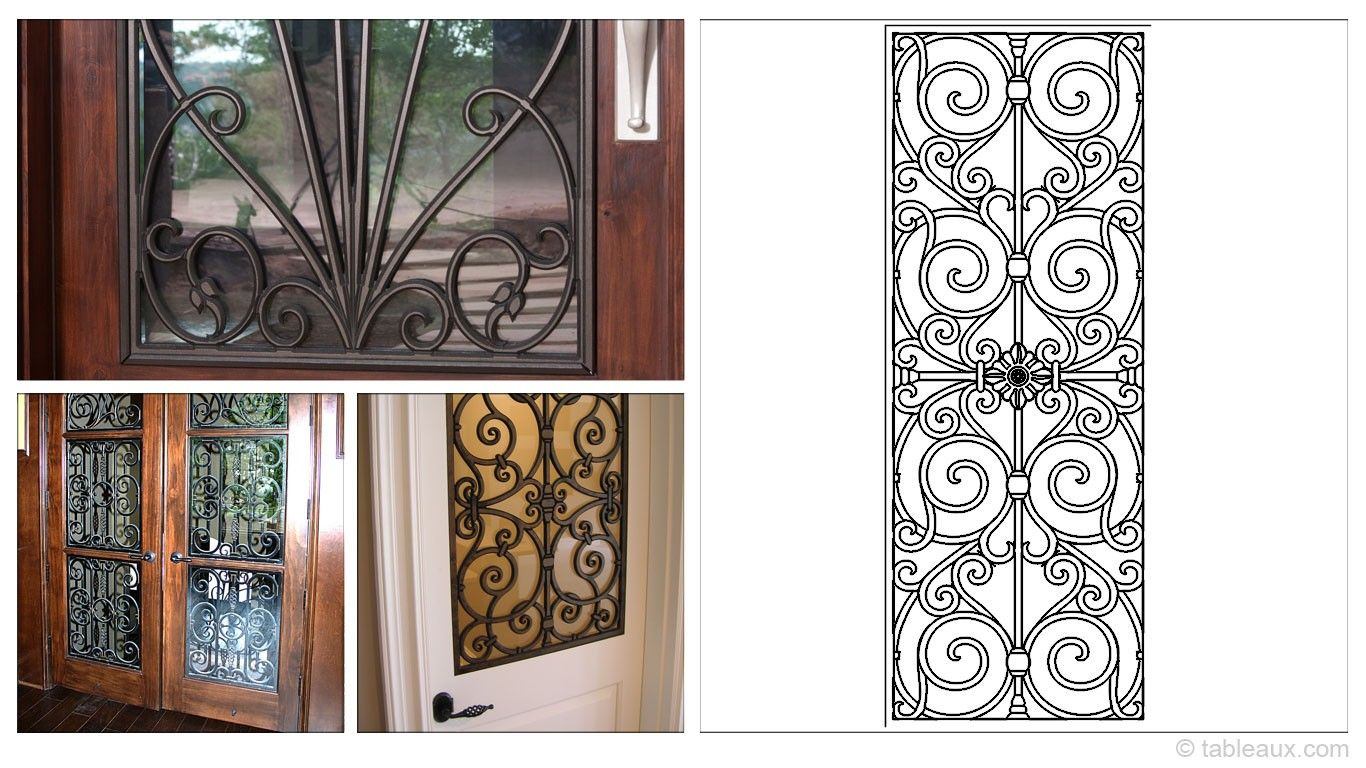 Rectangular 25x66 Tableaux Faux Iron Door Inserts Are