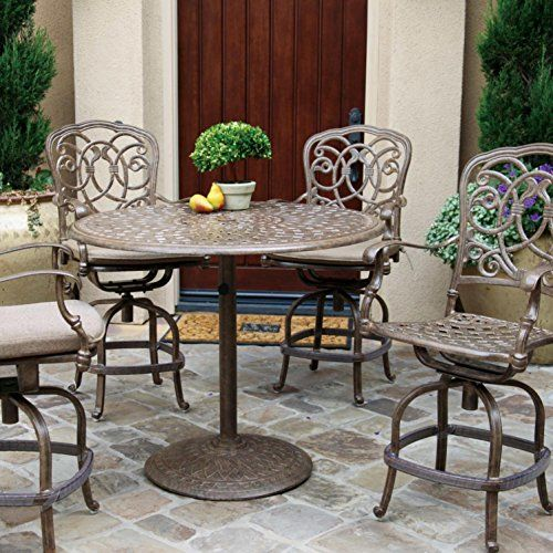 Darlee Florence 5 Piece Cast Aluminum Patio Counter Height Bar Set With Swivel Bar Stools Mocha You Can Find Ou Bar Table Sets Patio Bar Set Pub Table Sets