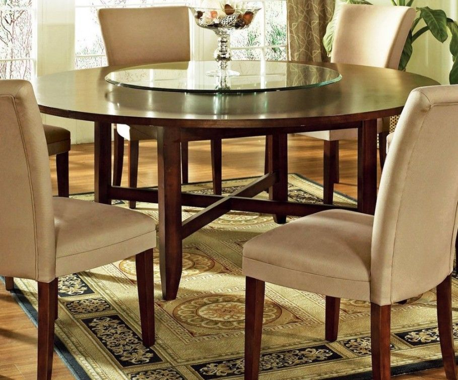 Dining Room 60 Inch Expandable Round Pedestal Dining Table With