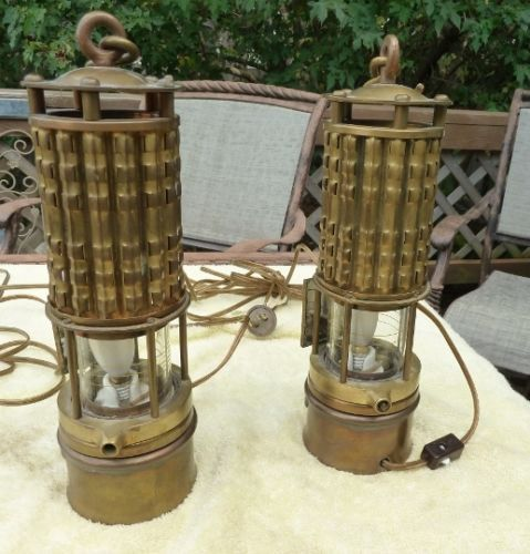 Pair Of Electrified Vintage Brass Wolf Safety Mining Lamps
