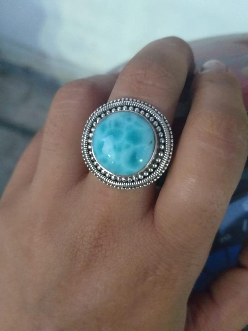 boho ring larimar jewelry sterling silver ring handmade ring silver larimar ring natural stone women ring Larimar ring