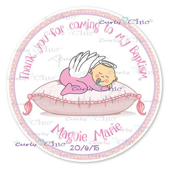Baby angel girl baptism personalized stickers or by curlynchic