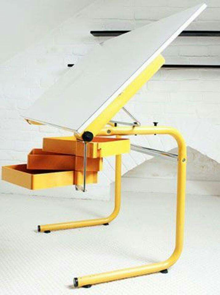 An iconic designer and quite a stylish and useful piece of kit too, this  Joe Colombo architect's desk for Bieffeplast.