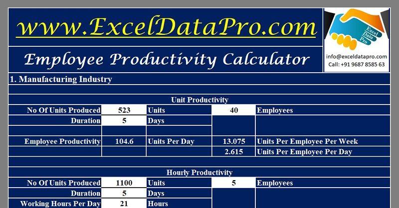 Download Employee Productivity Calculator Excel Template Excel