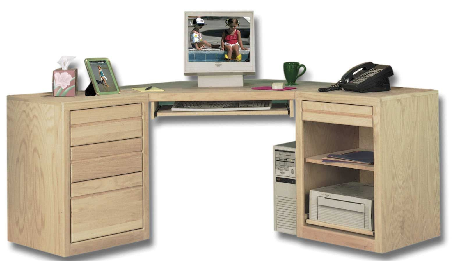 Unfinished Wood Desk With Partial Gl