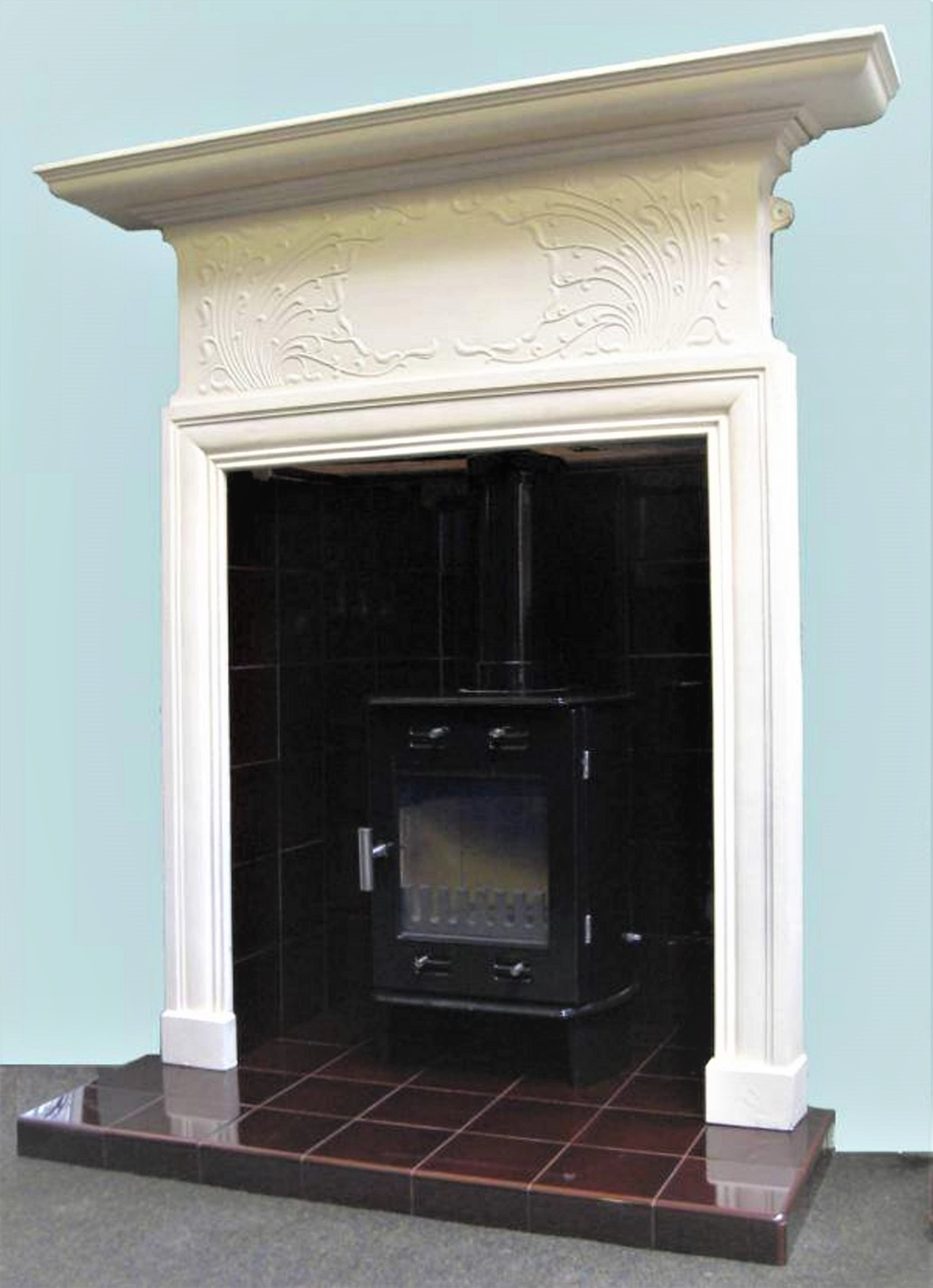 Antique Painted Cast Iron Surround With A Tiled Stove Chamber And Hearth Stove Multifuelstoves Log Antique Fireplace Surround Fireplace Antique Fireplace