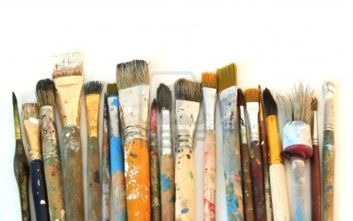 artist paint brushes Stock Photo