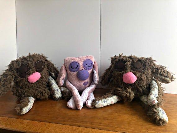 Plush Bunny - Handmade Bunny Plush - Sleepy Bunny Plush Toy - Stuffed Rabbit - Cute Super Soft Plush - Faux Fur Plush - OOAK Rabbit Doll #bunnyplush