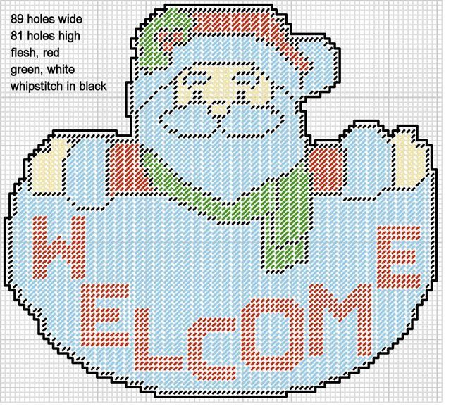 Country Santa Claus Wall Hanging-Christmas-Plastic Canvas Pattern or Kit