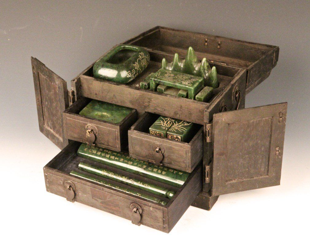 """Chinese Stationery Box. Consists of paper weight, ink pot, water pot, brush, stone seal. Width 8.25"""" Depth 5.5"""" Height 7.75"""""""