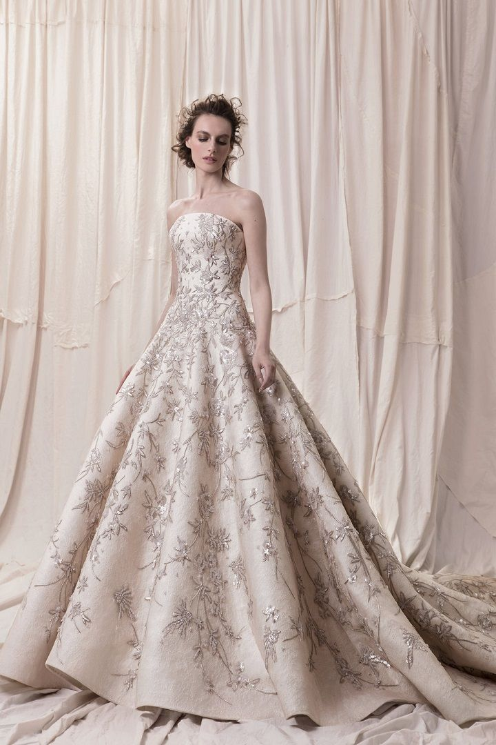 Embellishment champagne gold princess ball gown a line wedding dress royal train- sophisticated wedding dresses with impeccable detailing #weddingdress #weddinggowns #weddingdresses #longsleeve embellished bodice princess ball gown wedding dress Krikor Jabotian 2018 Wedding Dresses