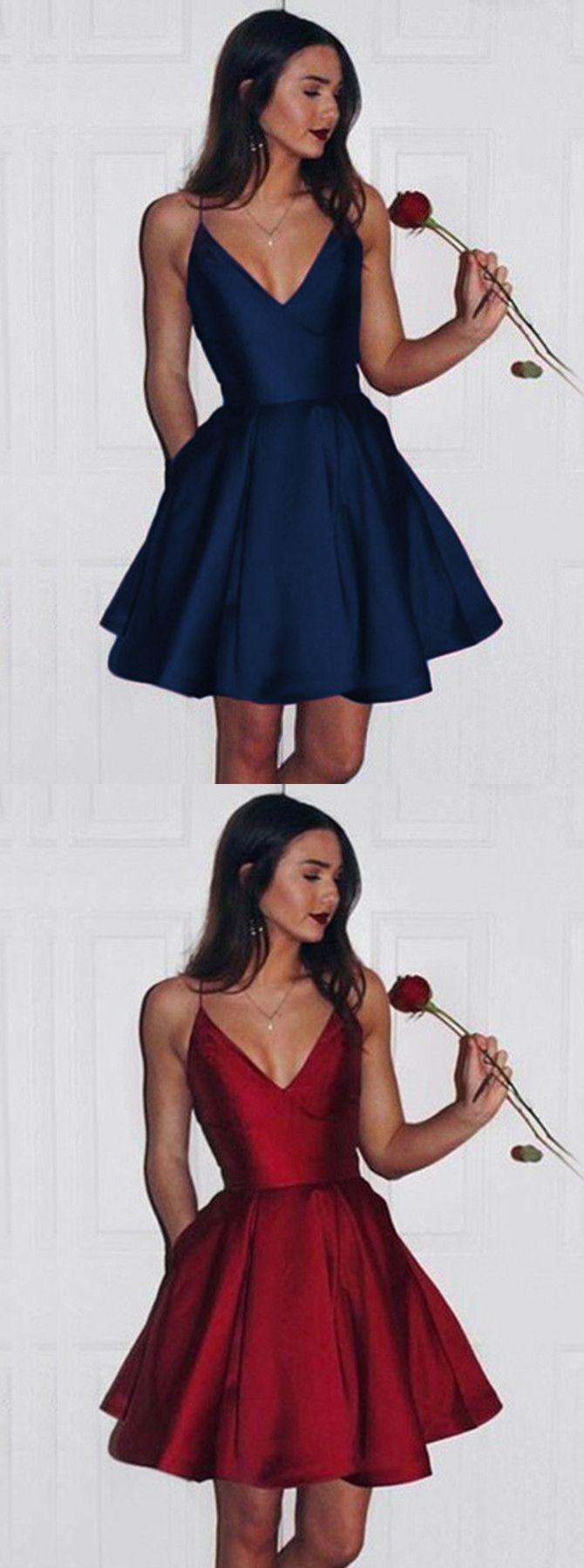 Aline deep vneck short sleeveless dark red satin homecoming dress