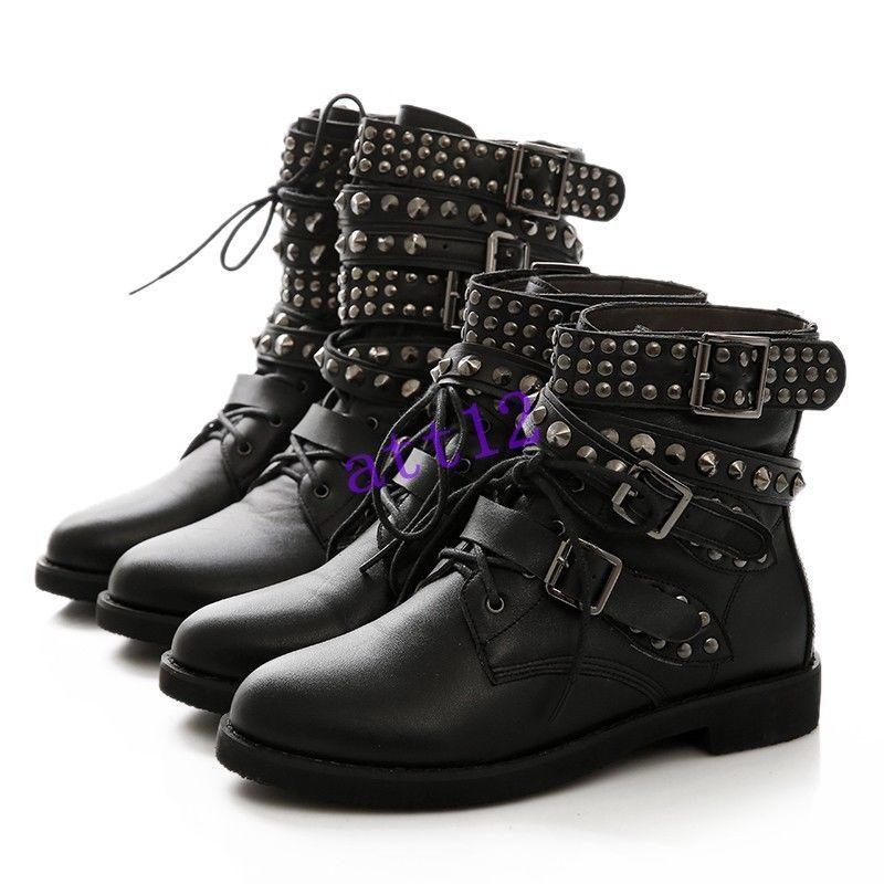 d4c6134cc3b Womens Low Heels Buckle Strap Lace Up Rivet Studded Combat Ankle Boot Plus  Size