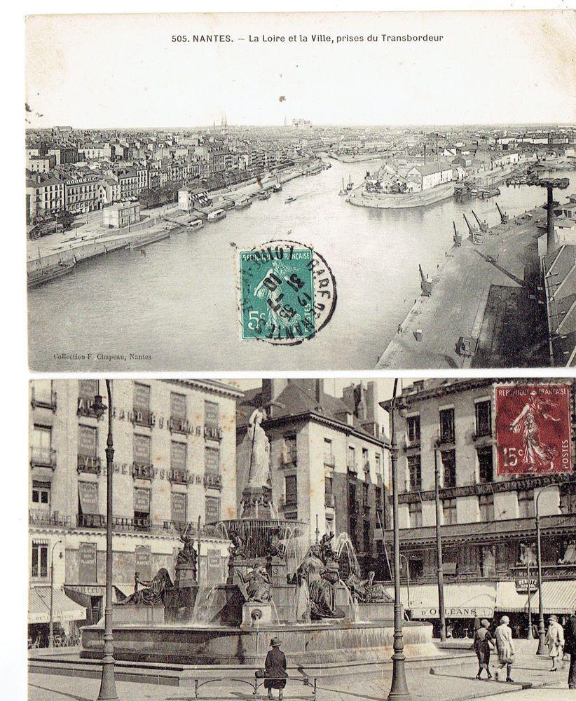 Lot De 2 Cpa De Nantes Dept 44 La Loire Et Place Royale Nantes