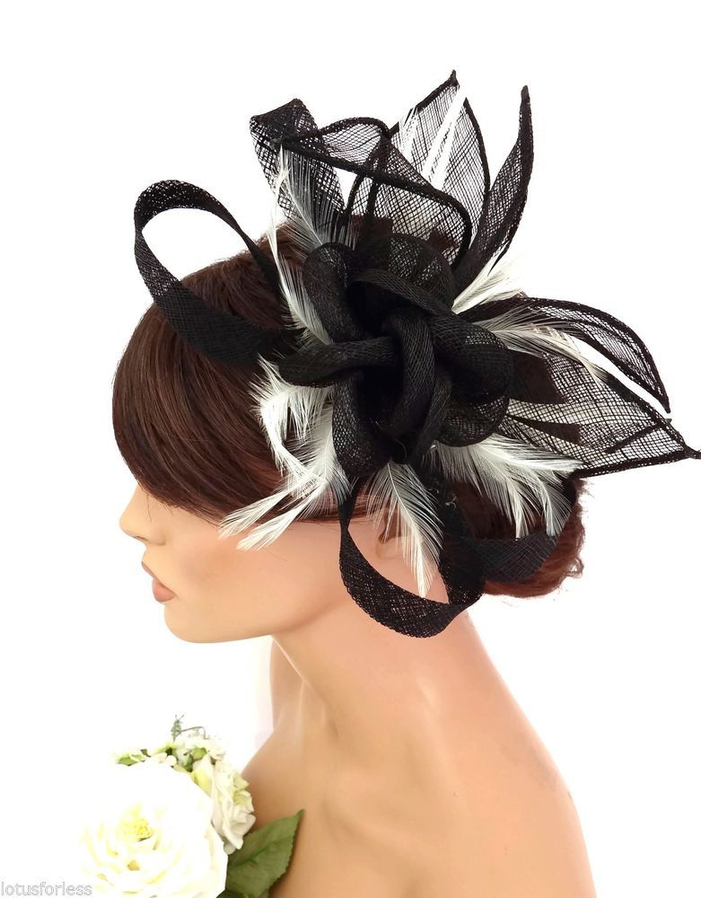 Elegant Black And Cream Flower Feather Bow Hair Comb Fascinator Races Wedding