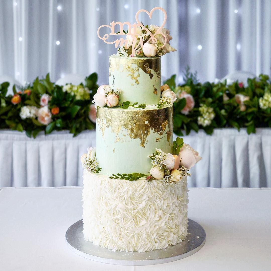 A 3 tiered mint green and peach themed cake for the lovely