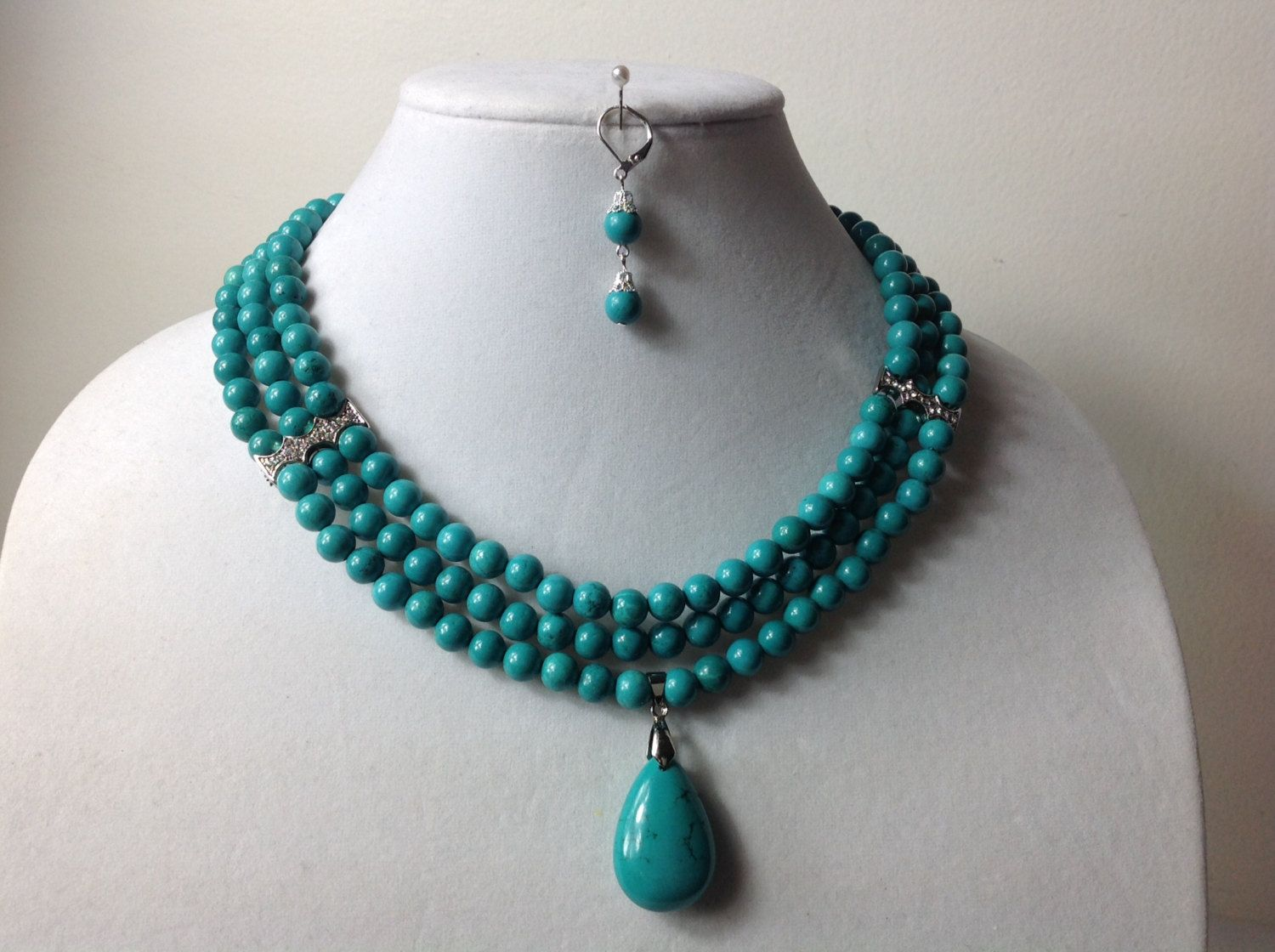 Elegant Turquoise Gem Stone Bead Necklace Set, Nigerian Wedding ...