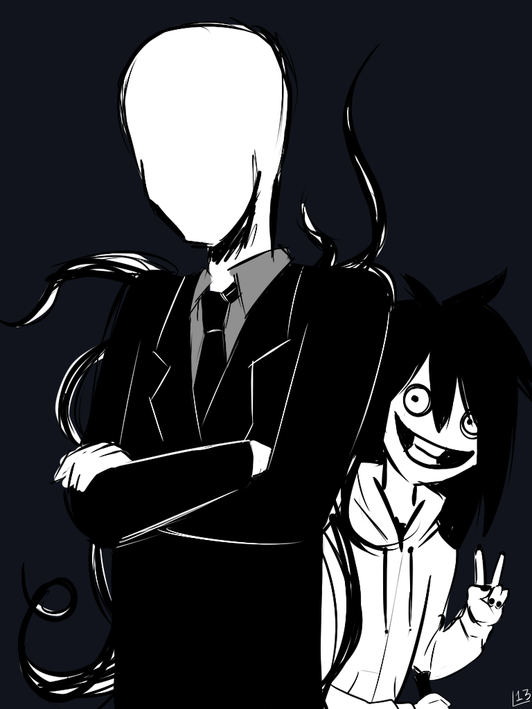 Slenderman and Jeff the killer by x0LadyLemmon0x on