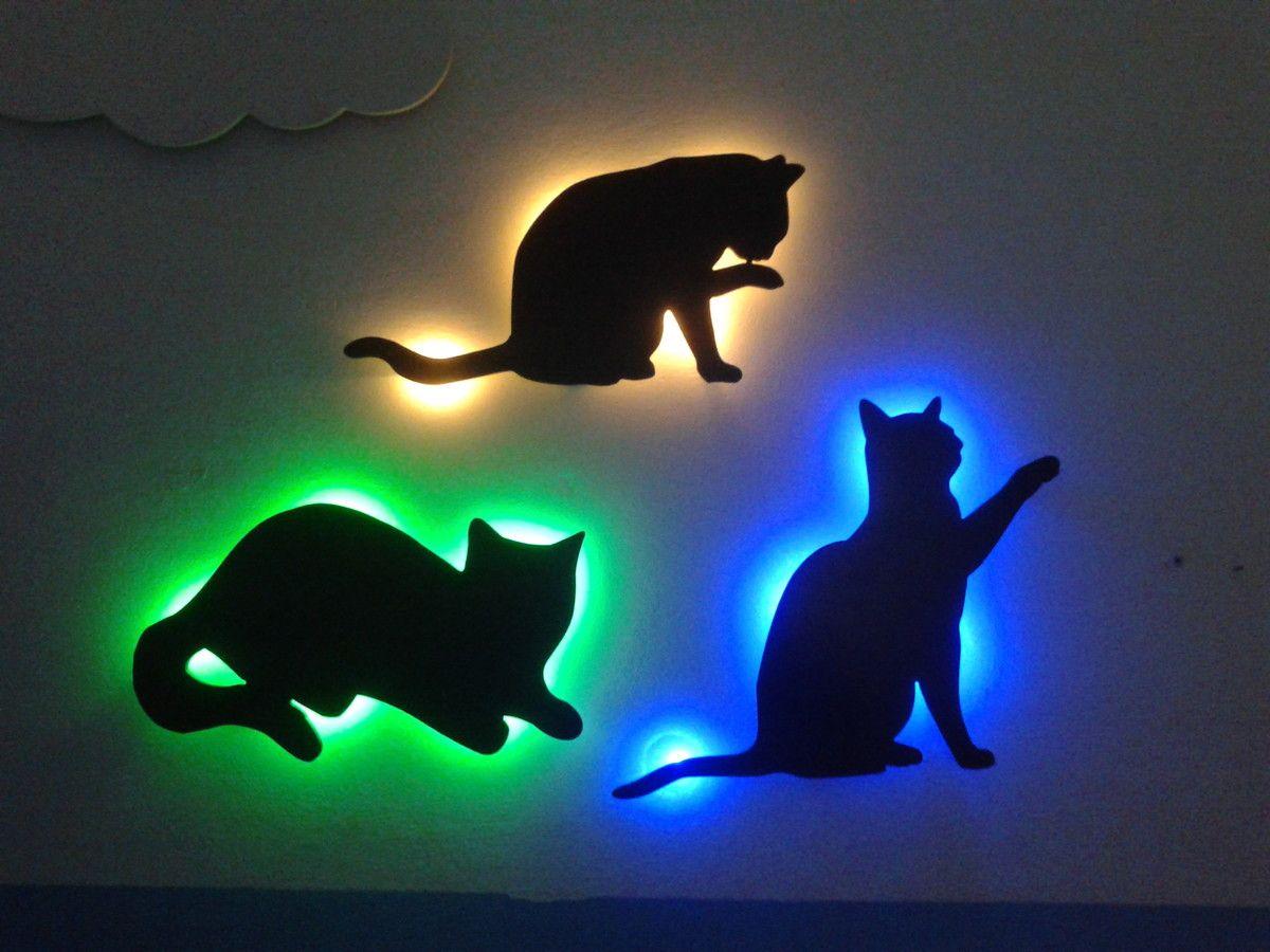 Kit Trio Gatos Silhuetas Luminarias Mdf Silhueta De Gato  ~ Luminaria A Pilha Para Quarto E Pintura De Quarto De Bebê