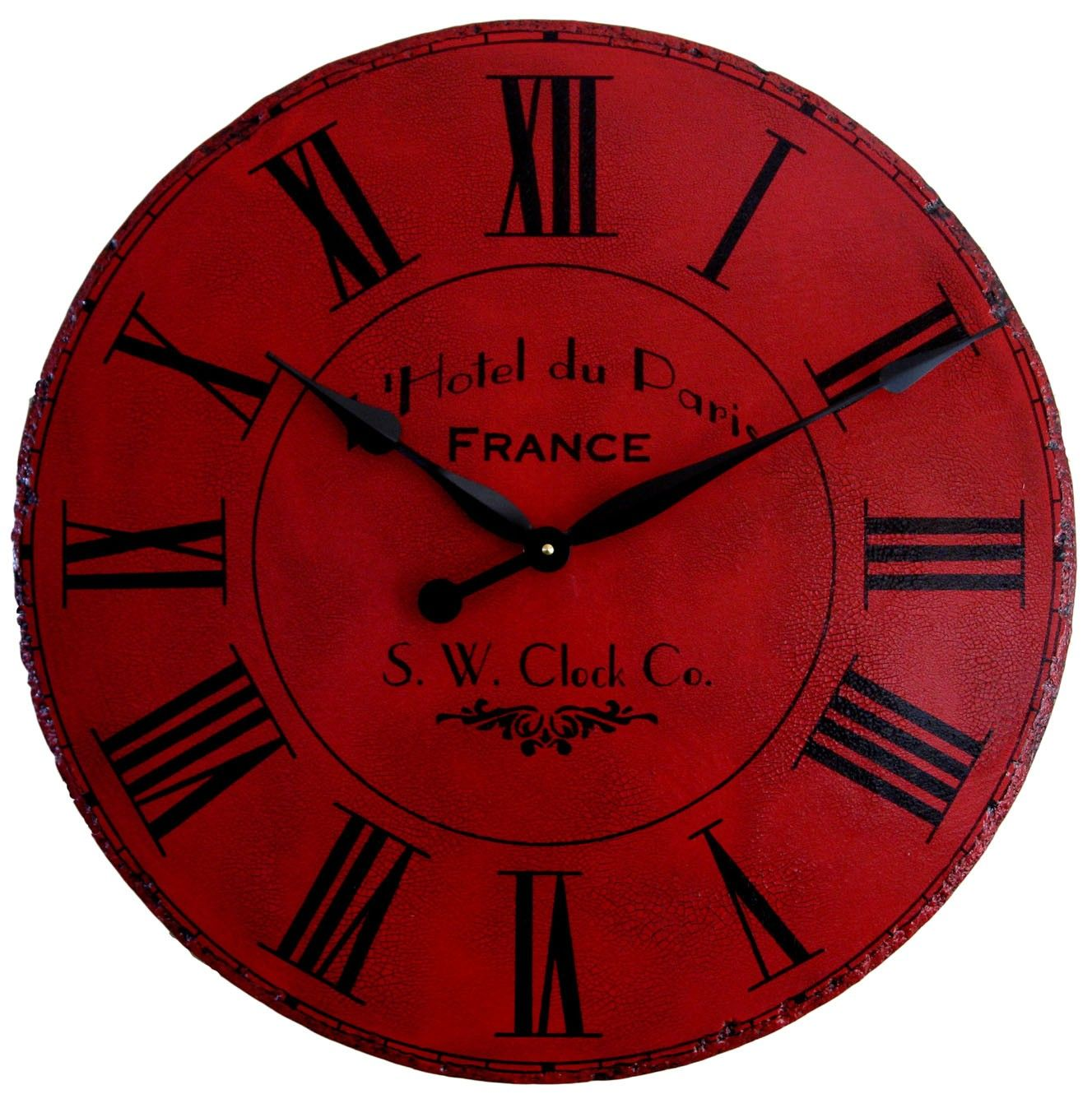 Inspiring Oversized Wall Clock For Accessories Ideas Maroon Round With Golden Hand And Roman Numeral