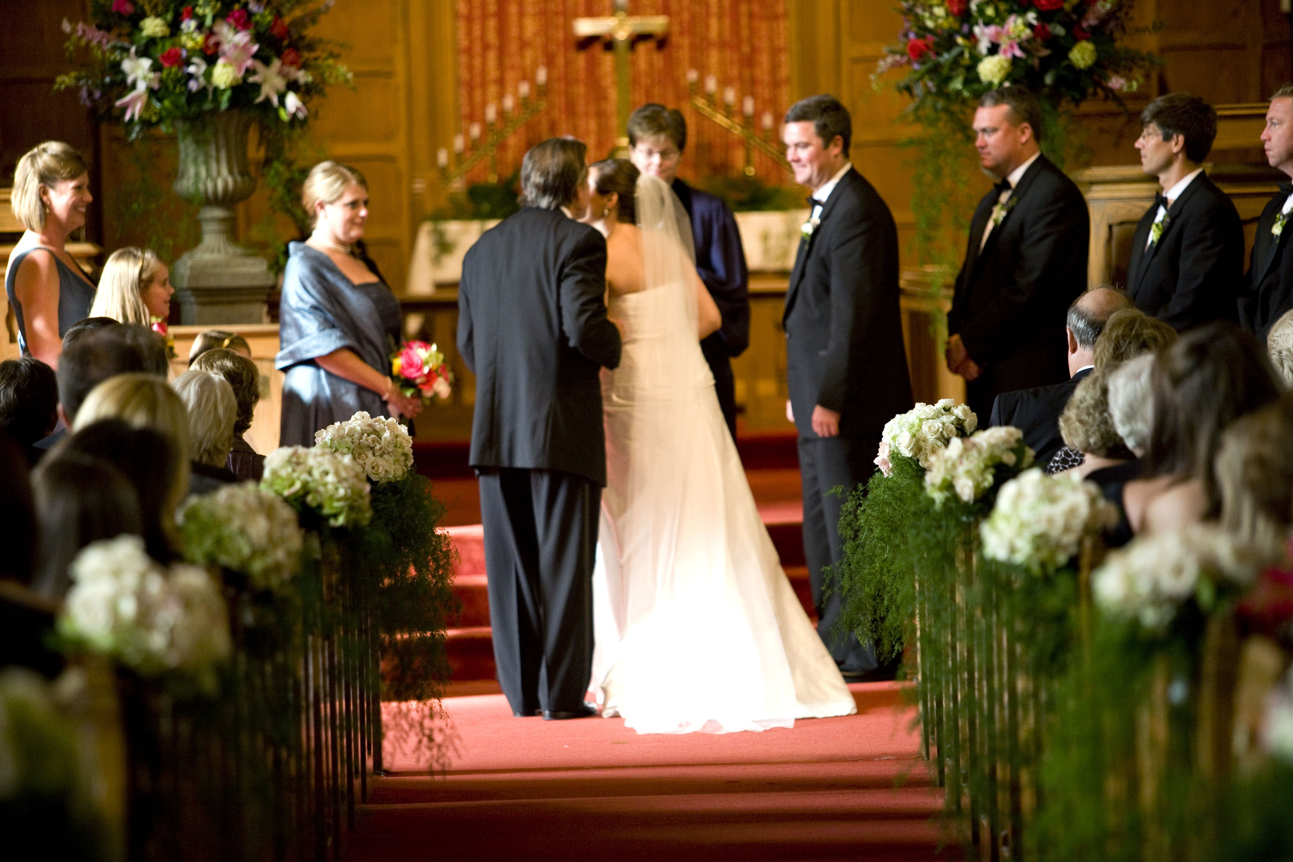 Gorgeous Wedding Ceremonies: Gorgeous Church Ceremony ! White Hydrangea Pew Markers And