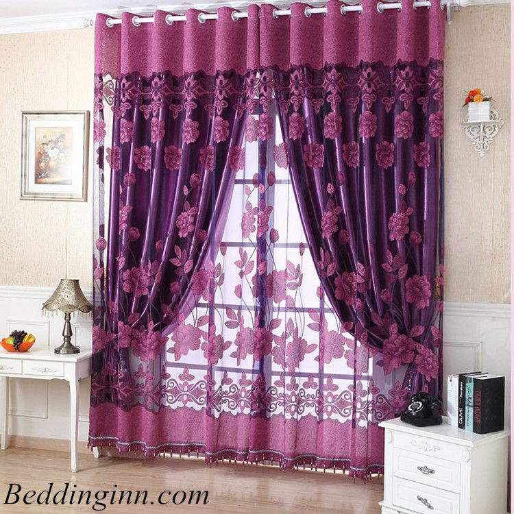 Decoration Polyester Cotton Deep Purple Floral Printing Sheer And Shading  Cloth Curtain Set