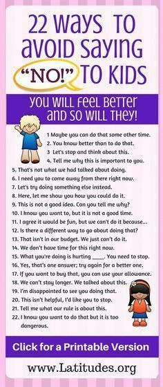 22 Ways to Avoid Saying NO to Kids #parenting