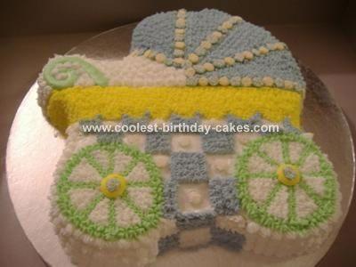 Cool Homemade Baby Carriage Cake Using Wilton Carriage Cake Pan