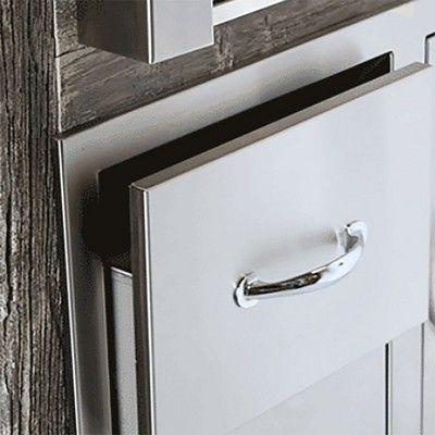 Summerset Stainless Steel Soft Closing Outdoor Kitchen Double Storage Drawers Storage Drawers Door Handles Storage