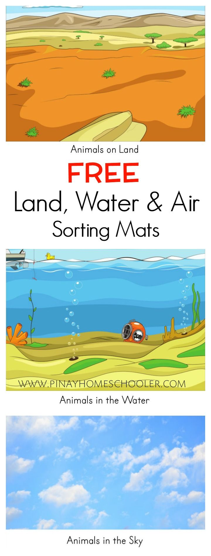 free land water and air sorting mats animals water animals preschool preschool social. Black Bedroom Furniture Sets. Home Design Ideas