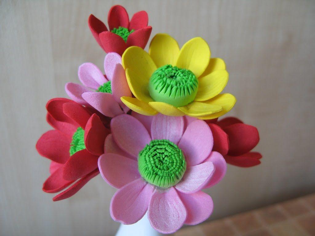 Фоамиран цветы мастер класс для начинающих выкройка фото 20