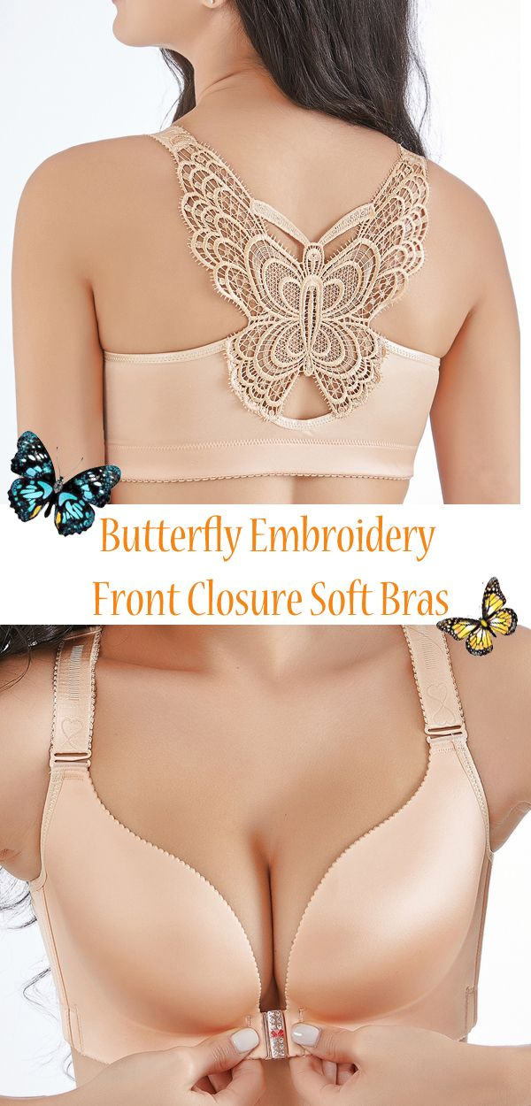e4964cf733 Butterfly Embroidery Front Closure Wireless Adjustable Gather Soft Bras