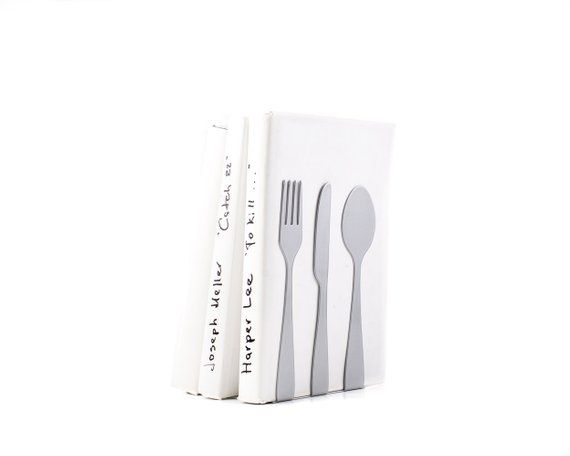Metal Kitchen Bookends // Silverware / Silver Edition // Functional Shelf  Decor // Cookbook Book Hol