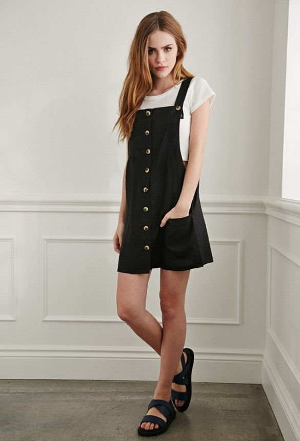 Forever 21 black dress gold buttons