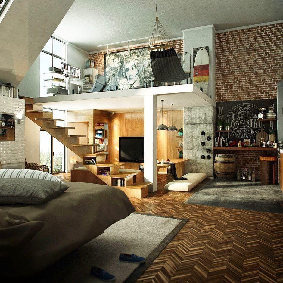 Open loft bedroom ideas  Pin by Павел П on интерьер дома  Pinterest  Lofts Interiors and
