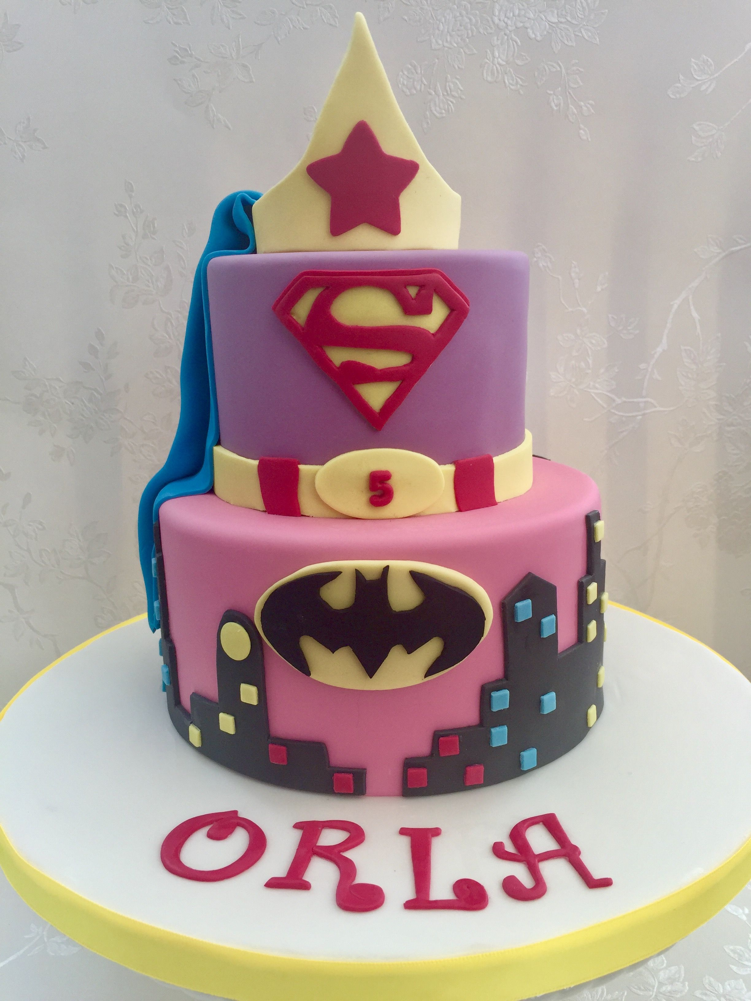 Awesome Girls Superhero 2 Tier Birthday Cake With Images Superhero Funny Birthday Cards Online Aeocydamsfinfo