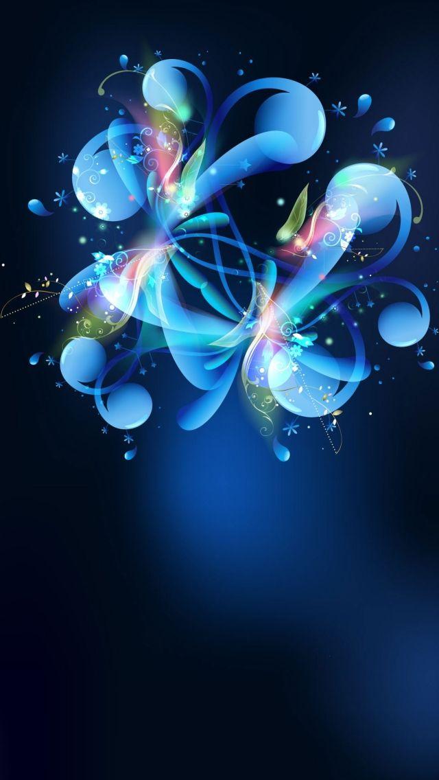 Blue Abstract Flower iPhone 5 Wallpaper.jpg