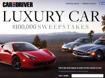 Hearst Magazines Sweepstakes Car And Driver Dream Big To Win A