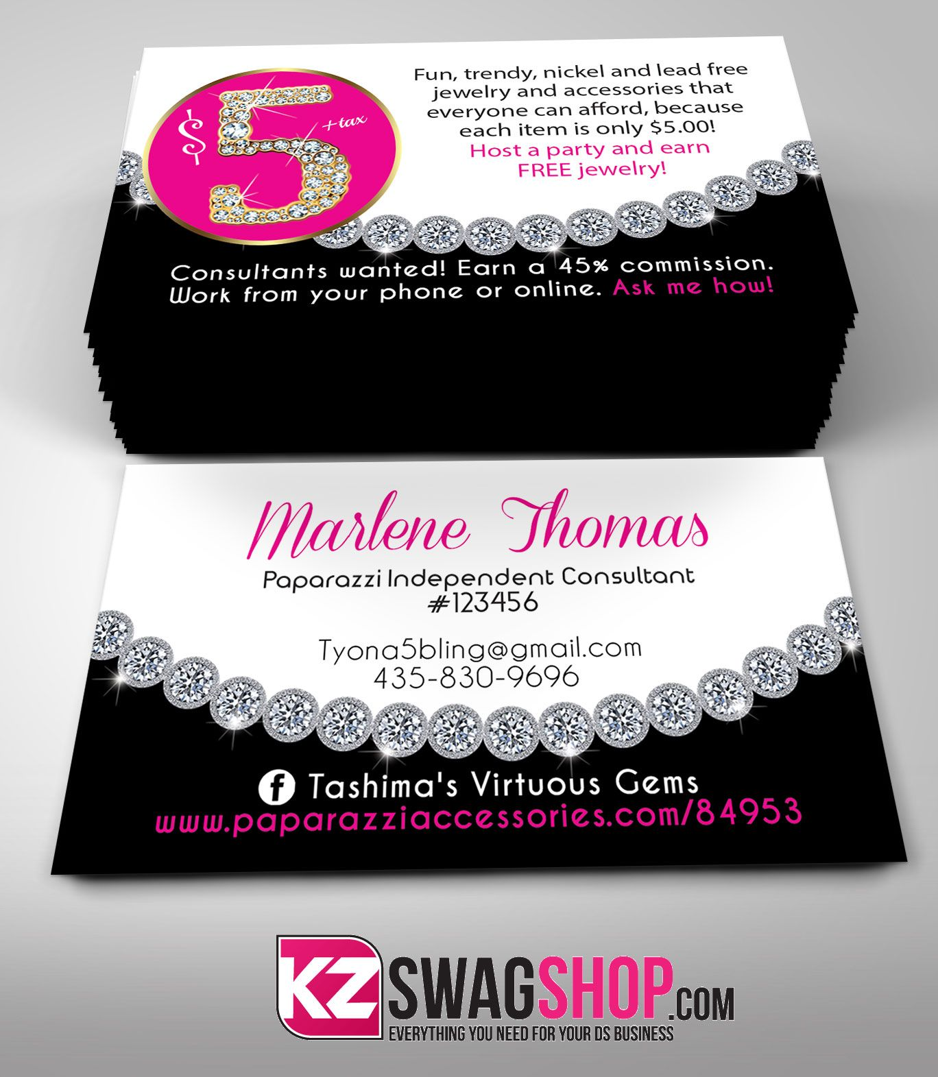 Paparazzi Business Cards style 12 from KZ Creative Services ...
