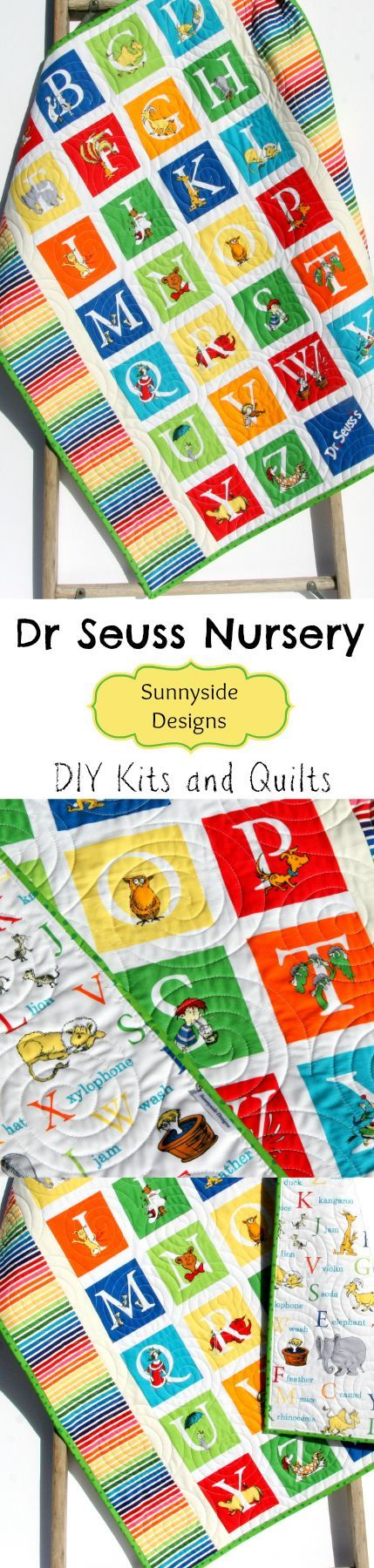 DIY Quilt Kits in Dr Seuss Fabrics, Baby Quilt Kit, ABCs Boy or Girl Crib Bedding, Dr Seuss Nursery, Handmade Baby Quilt by Sunnyside Designs