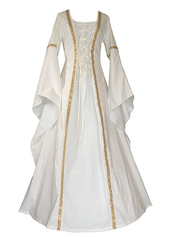 vintage long medieval dress women medieval dresses white Retro style renaissance dress floor length women cosplay dress