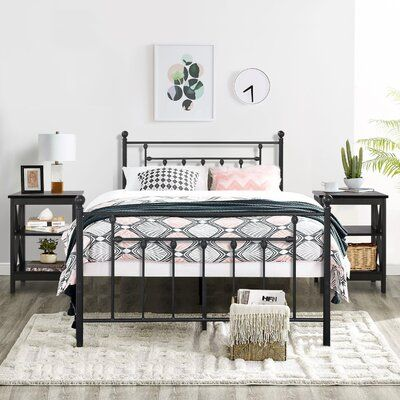 Alwyn Home Grubb Bed Frame Size Queen In 2020 Black Bed Frame