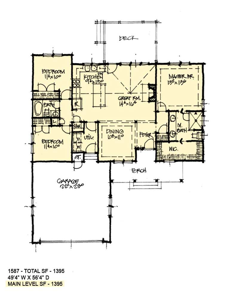 Conceptual Design 1587 Is A Small House Plan With A Front Entry
